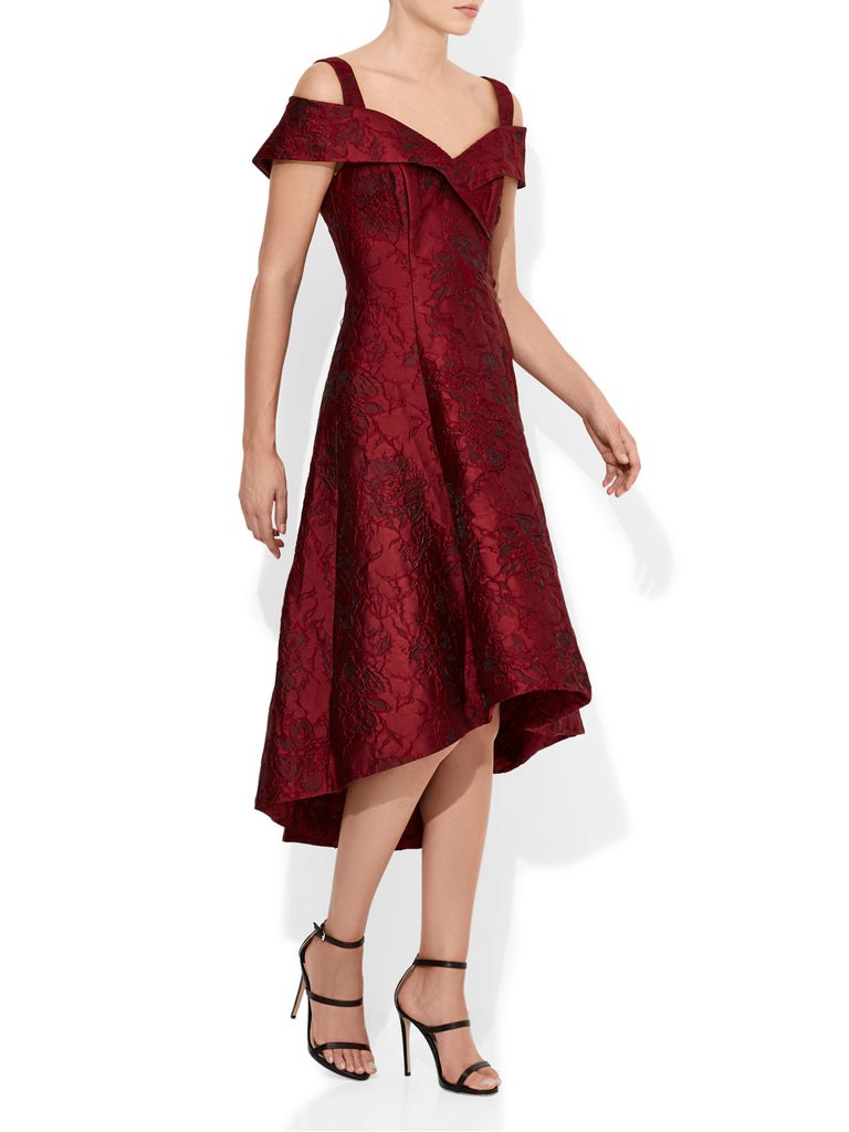 Luciana Red Jacquard Dress