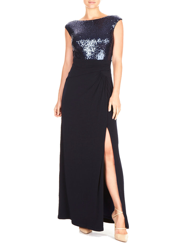 MARIAH SEQUIN & KNIT GOWN
