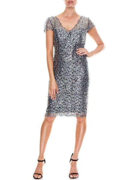 Portia Silver Lace Dress