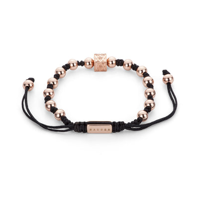 "Rose Gold Beaded ""H"" Block Bracelet"