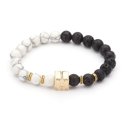 "Marble And Lava Beaded ""H"" Block Bracelet"