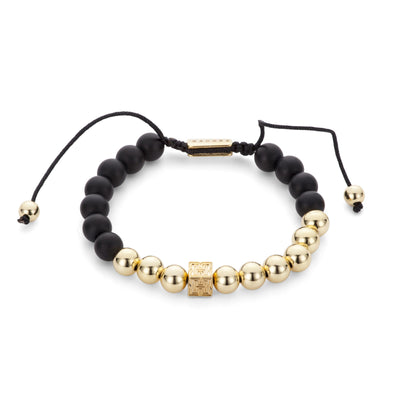 "Gold And Lava Beaded ""H"" Block Bracelet"