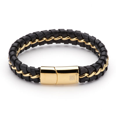 Unuhia Leather Bracelet With Gold Strip