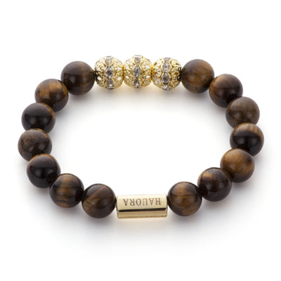 Tiger Eye And Crystal Gold Beaded Bracelet