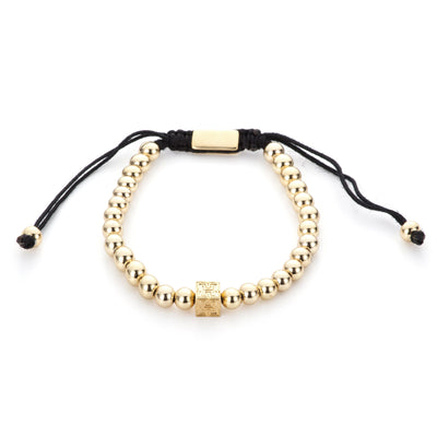 "Gold Beaded ""H"" Block Bracelet"