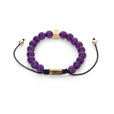 "Purple Beaded ""H"" Block Bracelet"