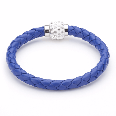 Koru Leather Crystal Bracelet In Blue