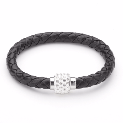 Koru Leather Crystal Bracelet In Black