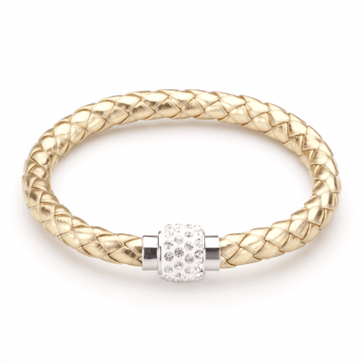 Koru Leather Crystal Bracelet In Gold