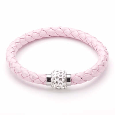 Koru Leather Crystal Bracelet In Pink