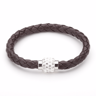 Koru Leather Crystal Bracelet In Brown