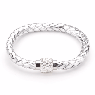 Koru Leather Crystal Bracelet In Silver