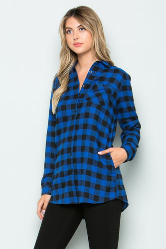 Blue Buffalo Plaid Button Down Top With Side Pockets
