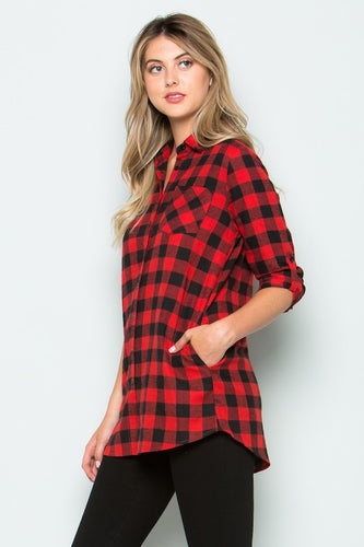 Red Buffalo Plaid Button Down Top With Side Pockets