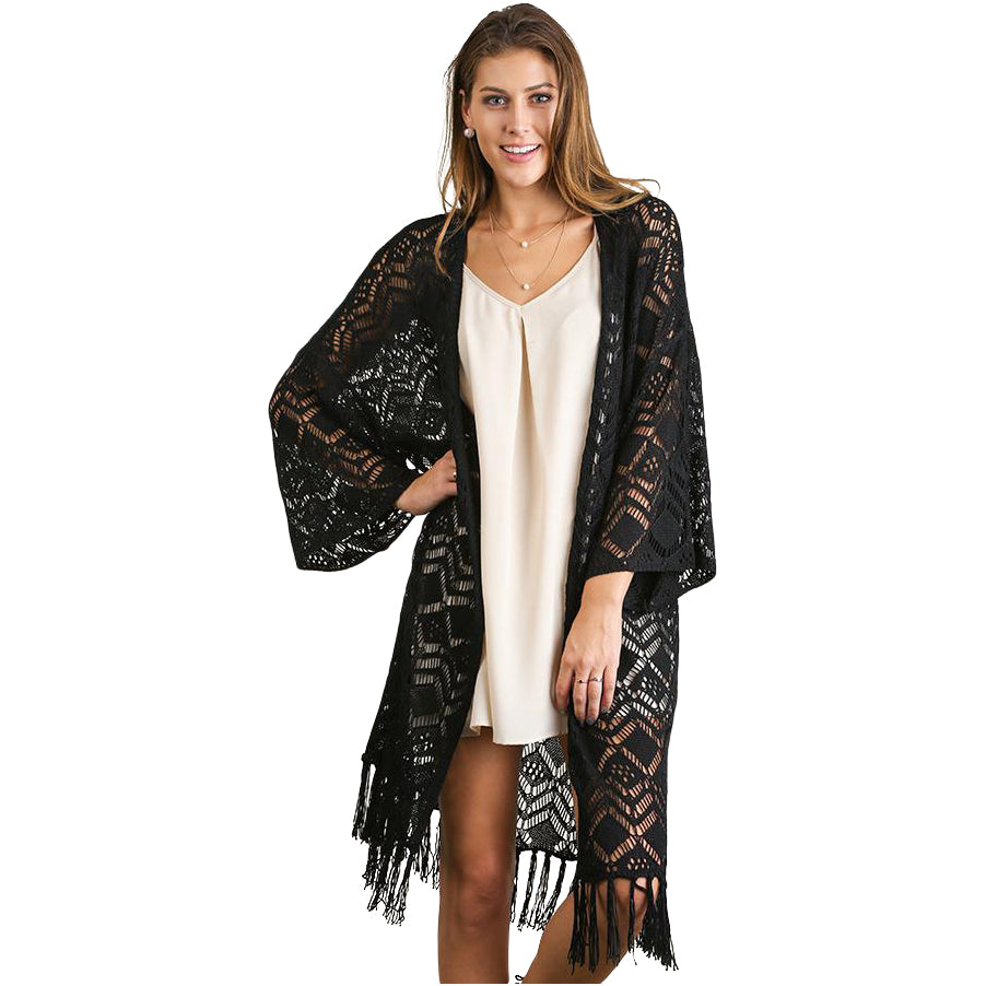 Black Lace Cardigan Sweater With Fringe Hemline