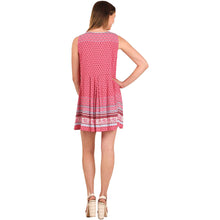 Sleeveless Peasant Print Dress - Rose