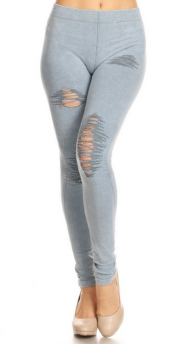 Distressed Jeggings - Light Denim
