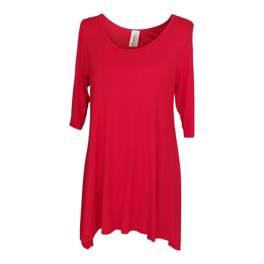Red 3/4 Sleeve Handkerchief Tunic