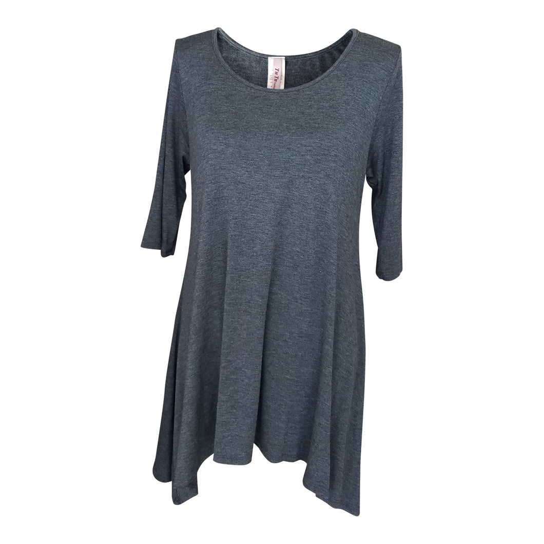 Charcoal 3/4 Sleeve Handkerchief Tunic