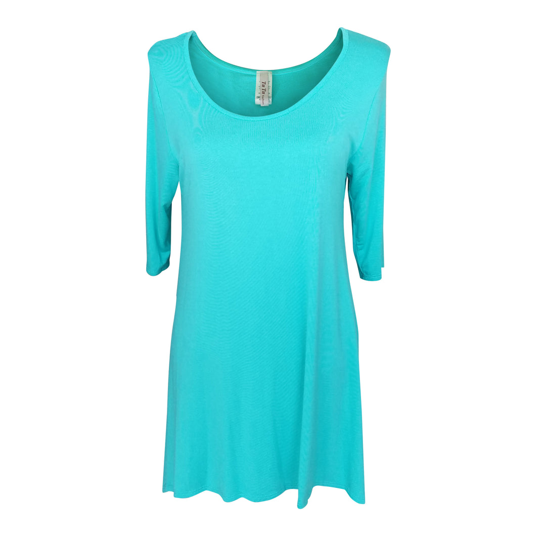 Mint 3/4 Sleeve Handkerchief Tunic