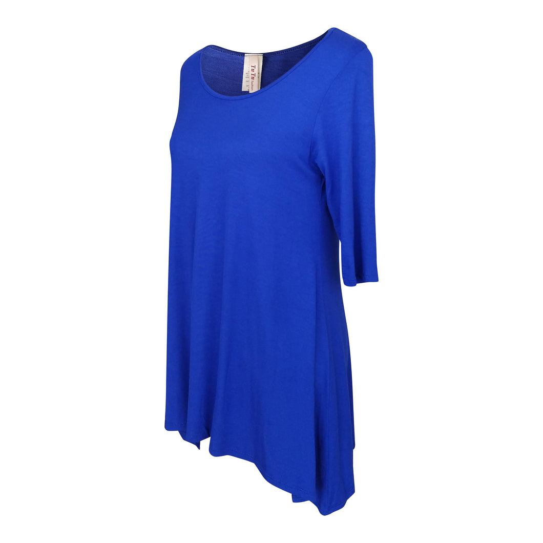 Royal Blue 3/4 Sleeve Handkerchief Tunic