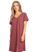 New!  Cross Back V-Neck Pocket T-Shirt Dress - Burgundy