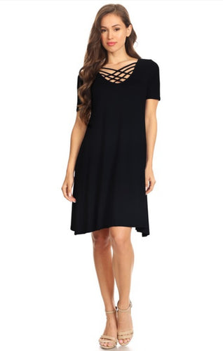 New!  Crossed Front Strap Swing Dress - Black