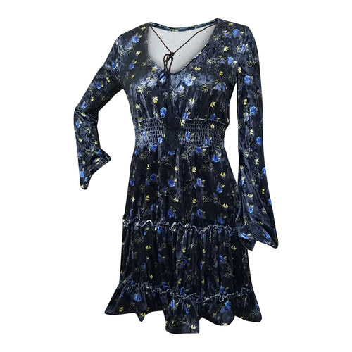Black Floral Velvet Empire Waist Dress