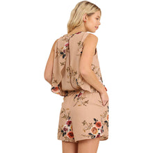 Sleeveless Romper With Open Back - Taupe