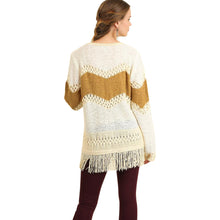 Ochre Sweater With Fringe Edges and Crochet Detail