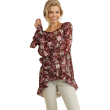 Floral Print Top With Ruffled Details - Wine