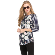 Navy Floral Raglan With Striped 3/4 Length Sleeves