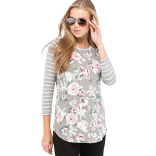 Gray Floral Raglan With Striped 3/4 Length Sleeves