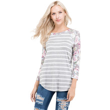 Gray Striped Raglan With Floral 3/4 Length Sleeves