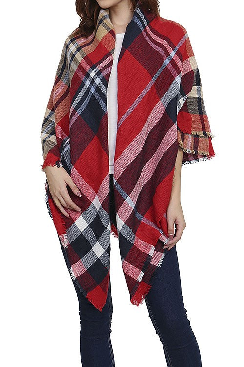 Burgundy Fringed Plaid Scarf