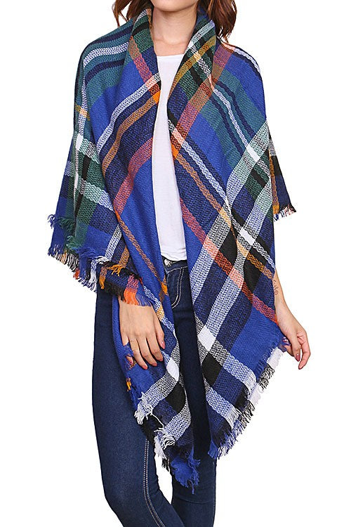 Royal Blue Fringed Plaid Scarf