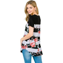 New!  Striped Floral Raglan Top - Black
