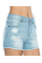 Distressed Cutoff Denim Shorts - Dark Blue