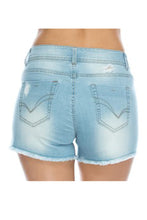 Distressed Cutoff Denim Shorts - Light