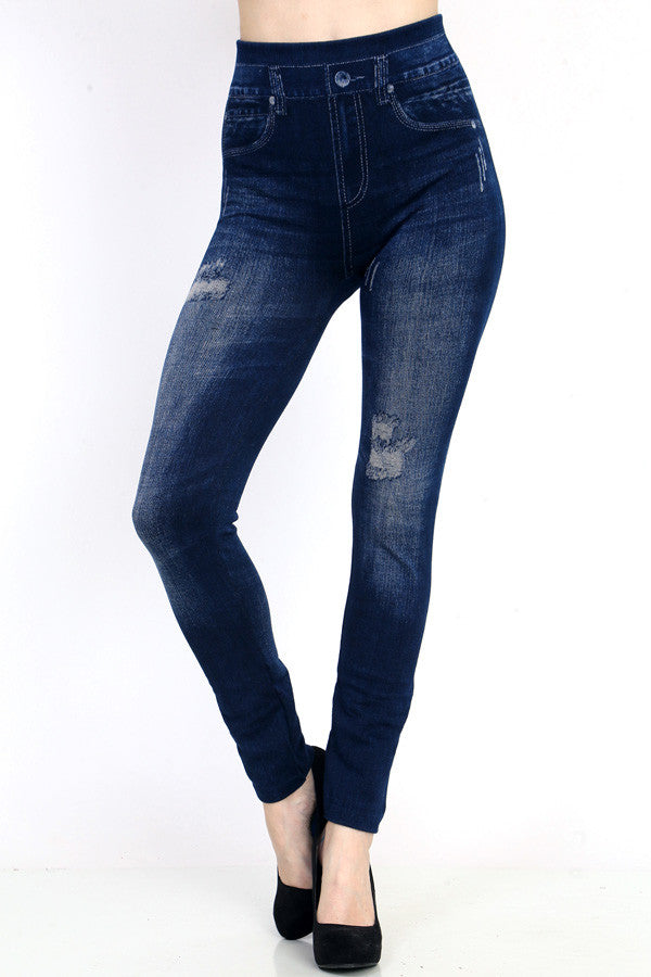 Miracle Jeggings - Dark Blue Distressed Faded