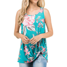 Floral Print Sleeveless Side Knot Top - Jade