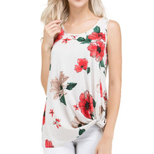Floral Print Sleeveless Side Knot Top - Red