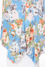Floral Print Sharkbite Tunic Top - Blue