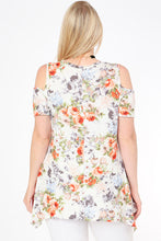 Floral Print Cold Shoulder Tunic Top - Off White