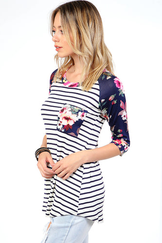 Striped Contrast Floral Raglan Top - Navy