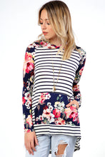 New!  Striped Contrast Floral Hooded Top - Navy