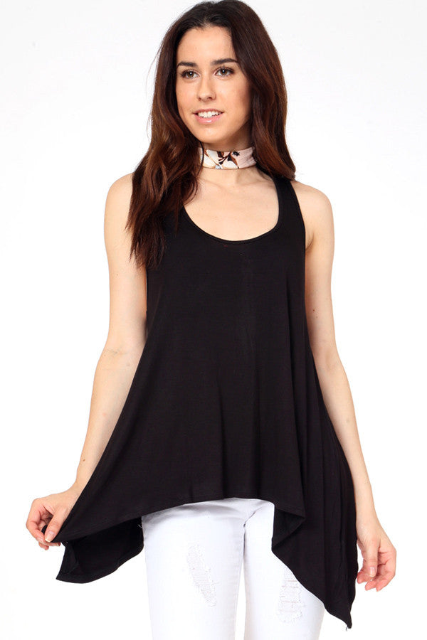 Sleeveless Handkerchief Tunic Top - Black
