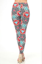Floral Kaleidoscope Print Brushed Leggings