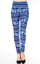 Blue Flower Print Brushed Leggings
