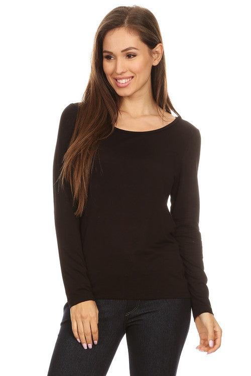 New!  Black Long Sleeve Crew-Neck Top